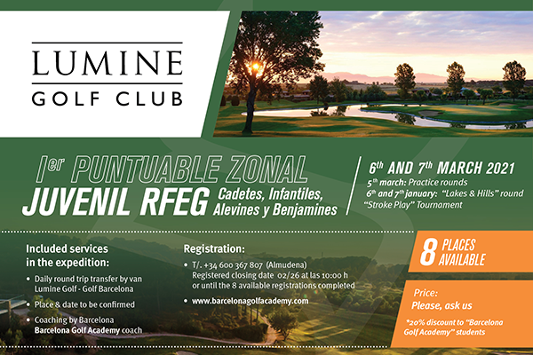 From March 6 to 7, open expedition to the '1er Puntuable Zonal Juvenil RFEG' at Lumine Golf