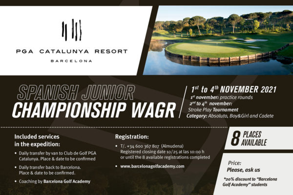 From 1st to 4th of November, open expedition to the Spanish Junior Championship WAGR in PGA Catalunya